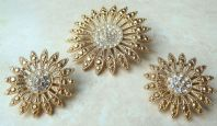 Rhinestone Studded Floral Earrings And Brooch Set By Avon.